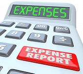stock photo of reimbursement  - Expense Reports words on a calculator display adding your receipts and costs for business meals - JPG