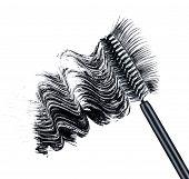 picture of bristle brush  - smear of black brush mascara and false eyelashes isolated on white background - JPG