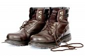 foto of work boots  - Untied Work Boots After a Day - JPG