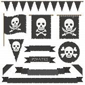 picture of skull crossbones flag  - set of black pirate flags banners bunting and ribbons isolated on white - JPG