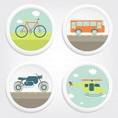 image of motor-bus  - Buttons of four types of transport - JPG