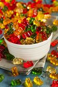 stock photo of gummy bear  - Colorful Fruity Gummy Bears Ready to Eat - JPG