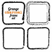 stock photo of charcoal  - Set of four grunge square charcoal frames vector - JPG
