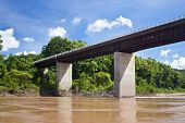 stock photo of ou  - Bridge over Nam Ou river in Laos - JPG