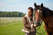 stock photo of horse girl  - Girl and horse on the walk  - JPG