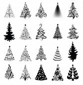 stock photo of xmas star  - Various stylized Christmas trees - JPG