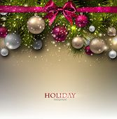 picture of xmas star  - Christmas background with balls and fir twig - JPG