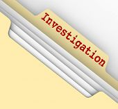 stock photo of pry  - Investigation word typed on a manila file folder tab to store your findings - JPG