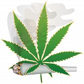 stock photo of rastafari  - Illustration of marijuana as a symbol of the drug - JPG