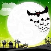 image of vampire bat  - vector illustration of bats against the full moon - JPG