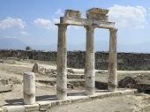 stock photo of artemis  - Columns and ruins of ancient Artemis temple in Hierapolis Turkey - JPG