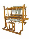 stock photo of handloom  - Vintage ancient wooden loom isolated over white background - JPG