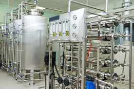 foto of pharmaceuticals  - Pharmaceutical technology equipment facility for water preparation - JPG