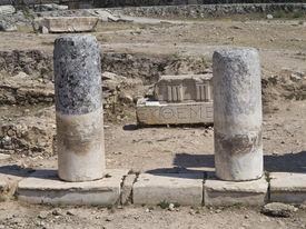 image of artemis  - Columns and ruins of ancient Artemis temple in Hierapolis Turkey - JPG