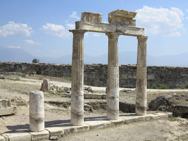 picture of artemis  - Columns and ruins of ancient Artemis temple in Hierapolis Turkey - JPG