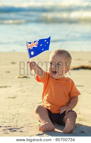 Happy kid with flag of Australia