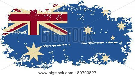 Australian grunge flag. Vector illustration.