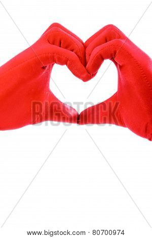 Heart Made By Hands In Red Gloves