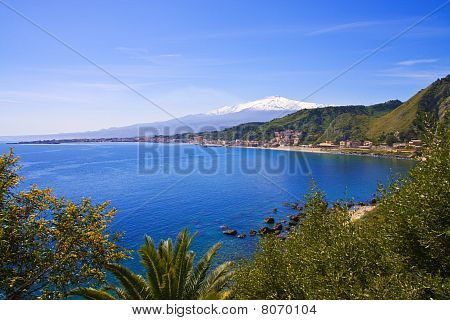 Mount Etna And Sea; Landscape From Taormina