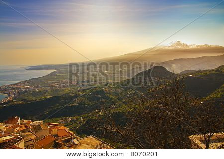 Mount Etna And Sea At Sunset; Landscape From Castelmola