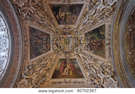 SALZBURG, AUSTRIA - DECEMBER 13: Fragment of the dome in the Chapel of Saint Sebastian, Salzburg Cathedral on December 13, 2014 in Salzburg, Austria.