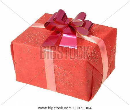 Gift In A Red Square Box With Bow