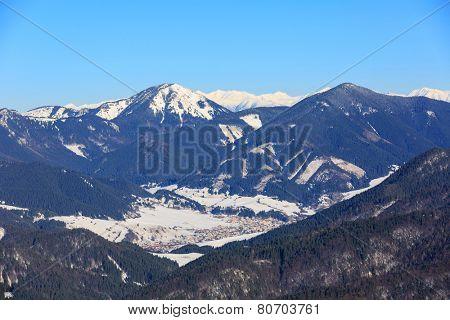 Winter scene in Slovakia, view from Nova Hola mountain