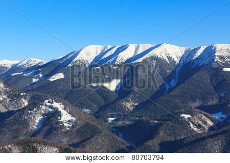 Winter mountain ridge near Donovaly snow park in Slovakia
