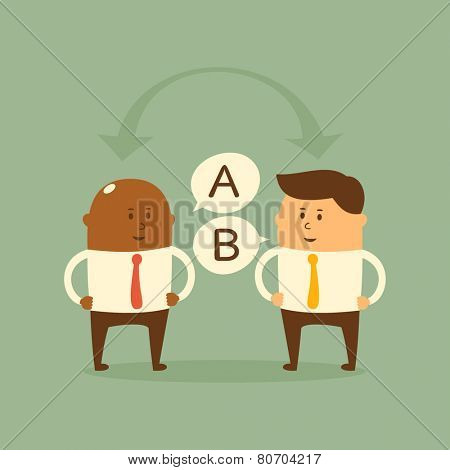 Business concept - exchange of ideas