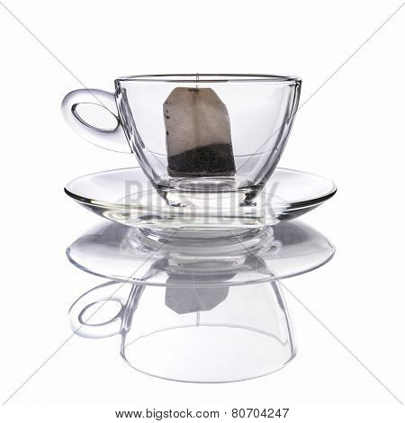 Empty cup of tea with teabag