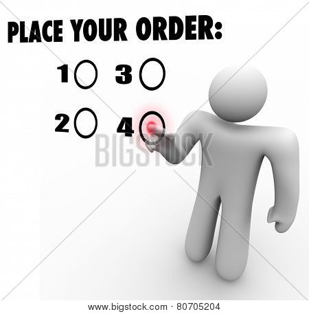 Place Your Order words on a touch screen and a customer choosing a selection to buy or purchase a preferred product or service