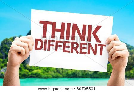 Think Different card with a beach on background