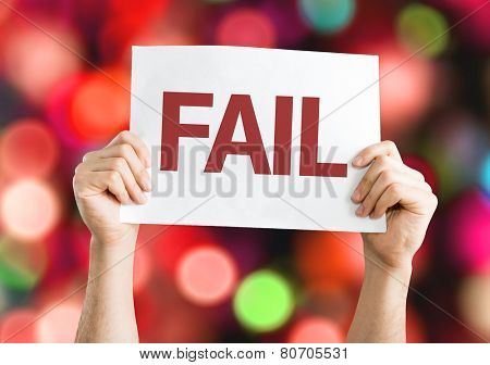 Fail card with colorful background with defocused lights