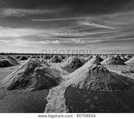 Salt mine at Sambhar Lake, Sambhar, Rajasthan, India. Black and white version