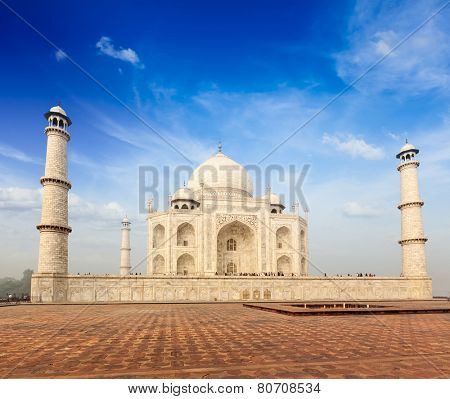 Indian famous landmark - India travel background Taj Mahal. Agra, Uttar Pradesh, India