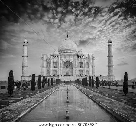 Taj Mahal - Indian famous landmark. Agra, Uttar Pradesh, India. Black and white version