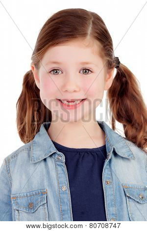 Funny little girl toothless with pigtails isolated on a white background