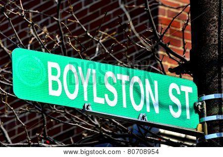 Boylston Street Sign site of 2013 Boston Bombings