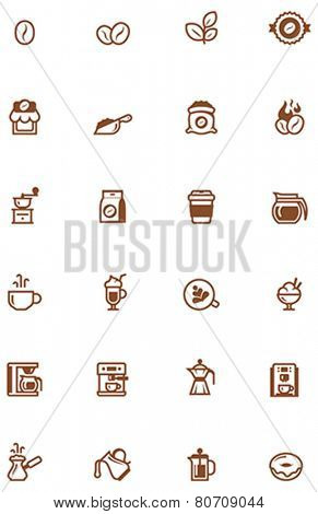 Set of the coffee related glyphs