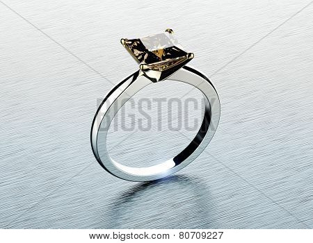 Golden Ring with Diamond or moissanite. Jewelry background. Valentine day
