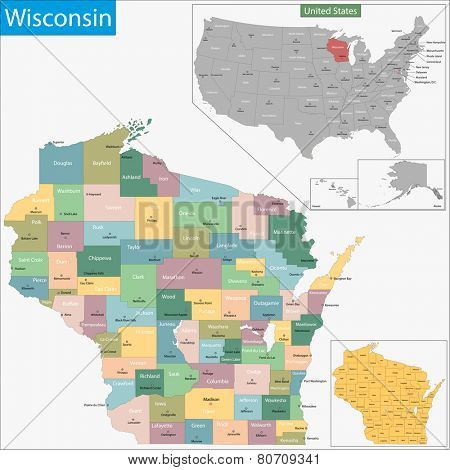 Map of Wisconsin state designed in illustration with the counties and the county seats