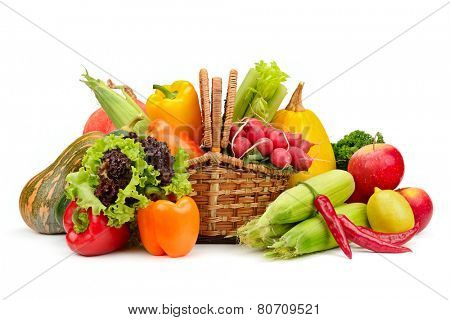 assortment vegetables and fruits in basket isolated on white background