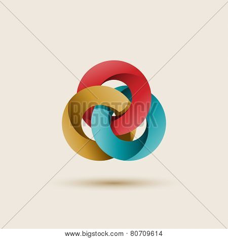 Three interlocking circles, abstract shape, vector illustration