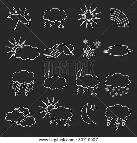 White Outline Weather And Forecast Symbols Eps10