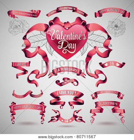 Vector set of valentines day banners and ribbons