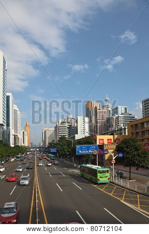 SHENZHEN -  CITY IN SOUTH OF  PEOPLE'S REPUBLIC OF CHINA - NOVEMBER 19, 2011: The magnificent modern city with wide prospectuses and skyscrapers.