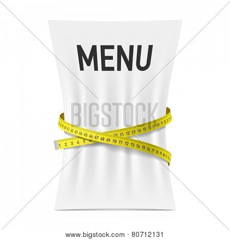 Menu squeezed by measuring tape, diet theme concept. Vector.