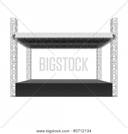 Outdoor concert stage, truss system. Vector.