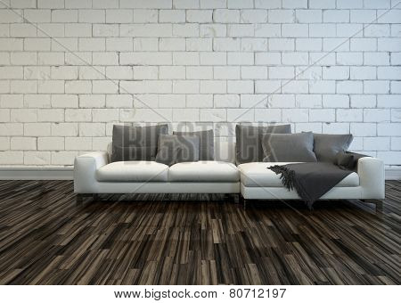 3D Rendering of Rustic living room interior with a large white sofa with grey cushions on a bare wooden parquet floor against a white painted rough brick wall