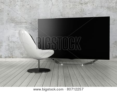 3D Rendering of Single modern white comfy chair standing on a white painted parquet floor in front of a large flat screen TV in a minimalist home